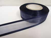 Navy dark Blue satin edged organza ribbon, 2 or 25 metres, Double sided, 10mm, 15mm, 25mm, 40mm, 70mm